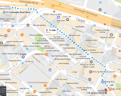 connaught road to jervois map