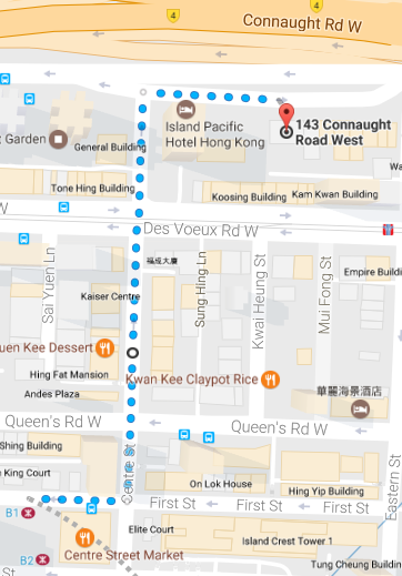 sai ying pun to 143 connaught map