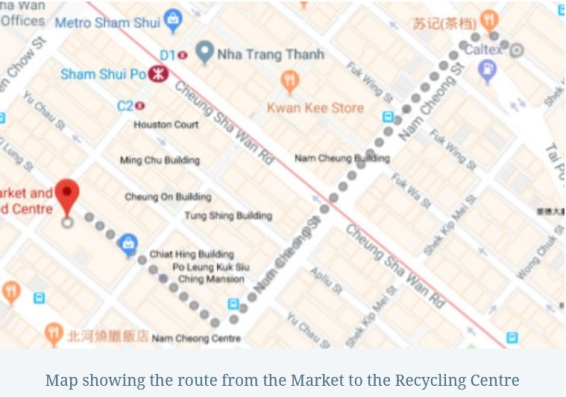 map showing the route from the market to the recycling centre