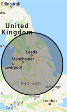 100 mile radius map