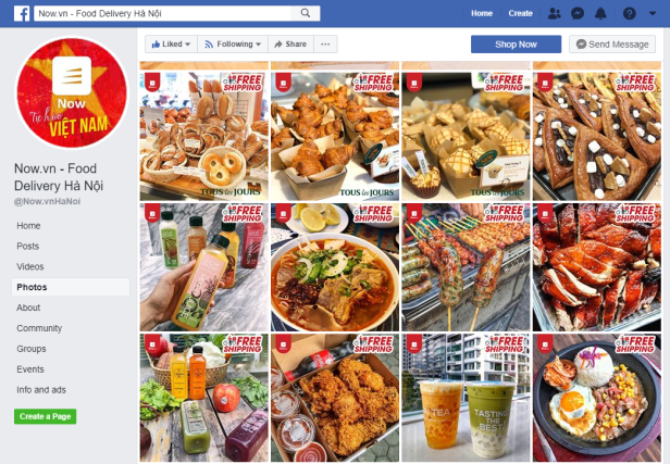 Facebook page of online food delivery service in Vietnam