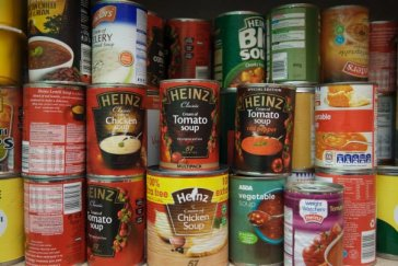 Tinned meals in cupboard